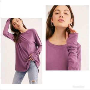 Free People Arden T-Shirt Long Sleeve NWT Plum